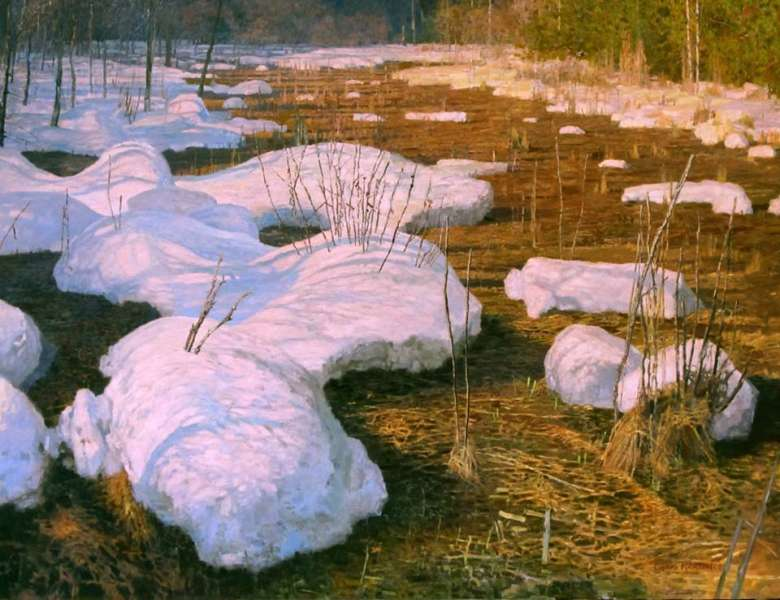 Chris Morton, Snow in the Meadow, Oil on Board